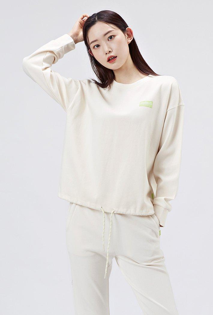 여성 루즈핏 밑단 스트링 맨투맨 티셔츠-AAAG5158B0A