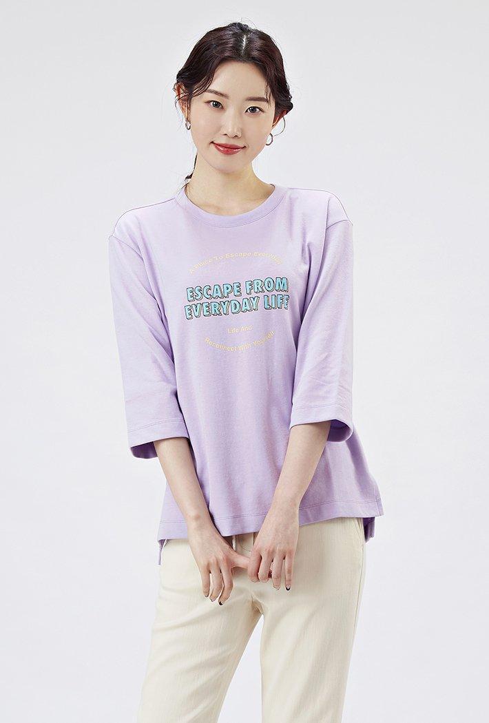 여성 루즈핏 유스풀 그래픽 7부 티셔츠-AAAG5159B0T