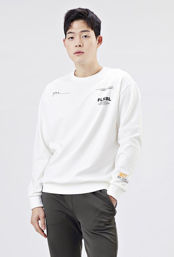 남성 세미오버핏 레터링 맨투맨 티셔츠-AAAK5119B0A