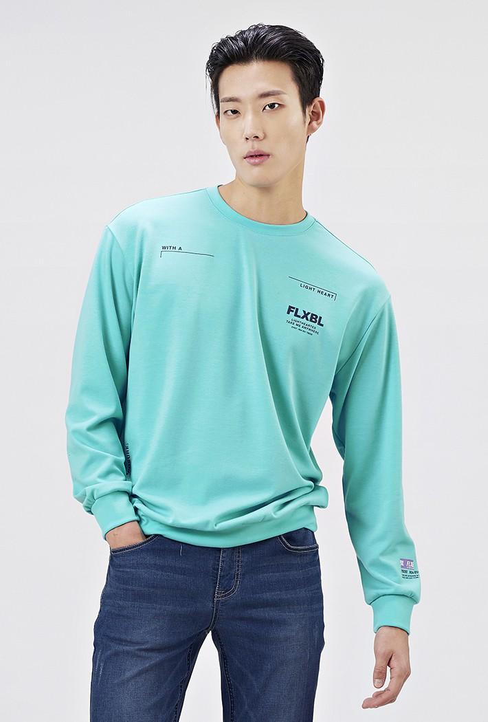 남성 세미오버핏 레터링 맨투맨 티셔츠AAAK5119B0S