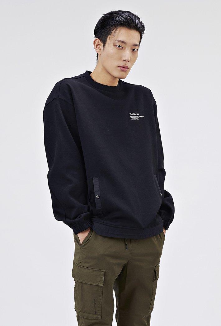 남성 유틸리티 오버핏 스트링 티셔츠-AAAK5126B03