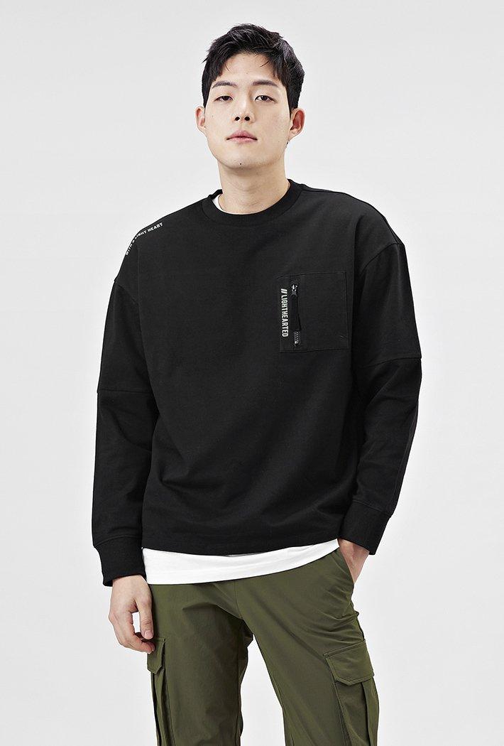 남성 유틸리티 오버핏 지퍼 포켓 티셔츠-AAAK5127B03