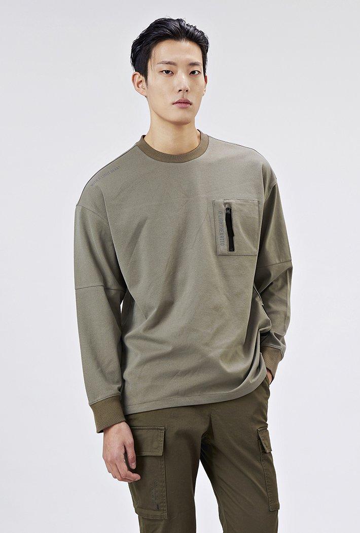 남성 유틸리티 오버핏 지퍼 포켓 티셔츠-AAAK5127B0V