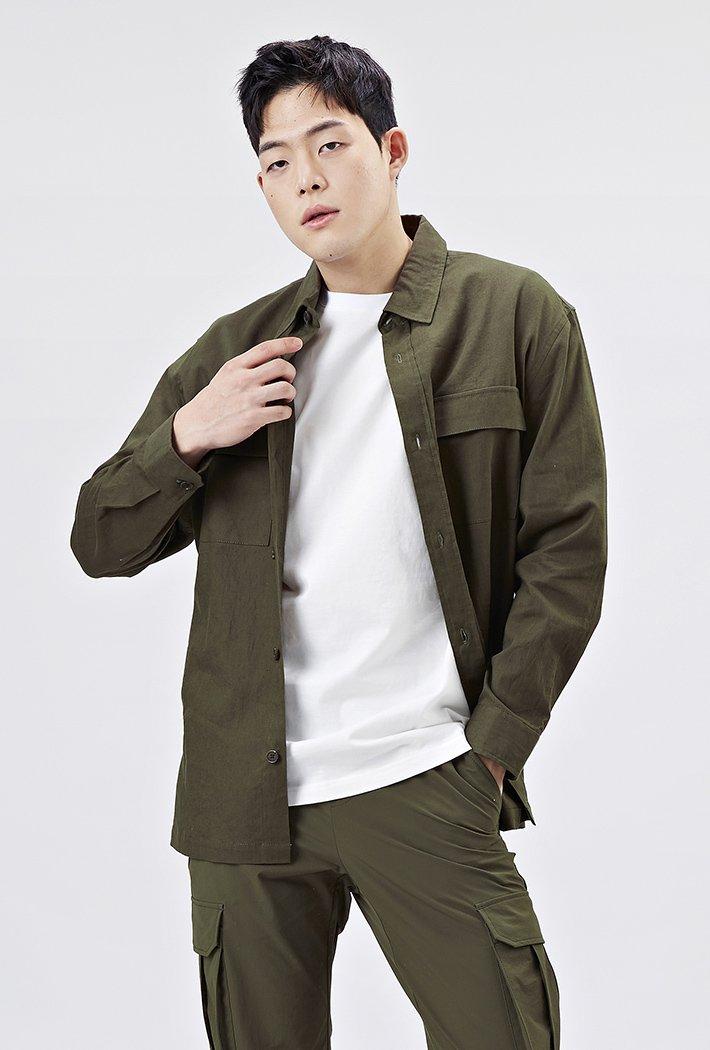 남성 오버핏 아우터형 셔츠-AAAK5417B0V