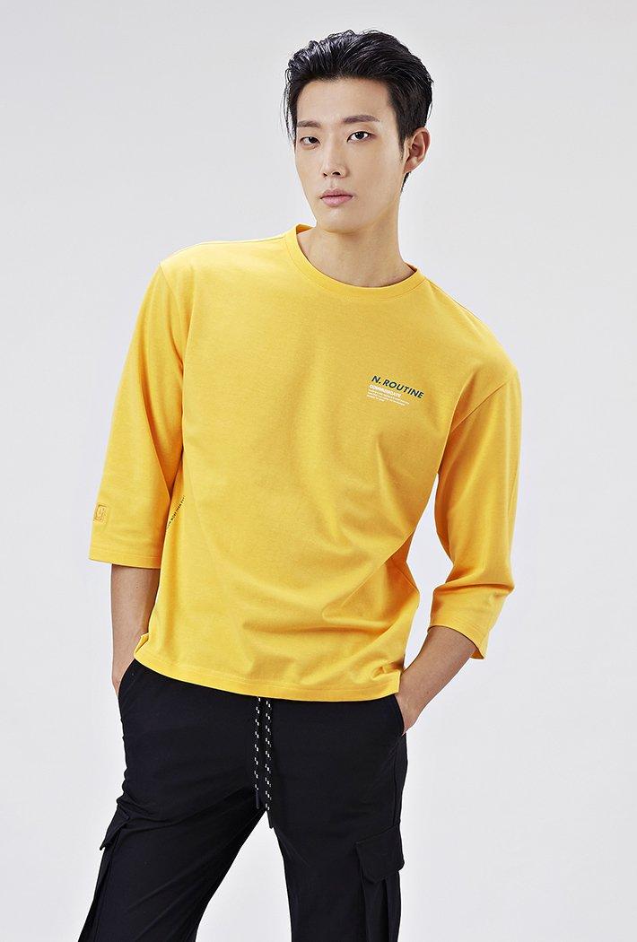 공용 세미 오버핏 데일리 7부 티셔츠-AAAU5125B06