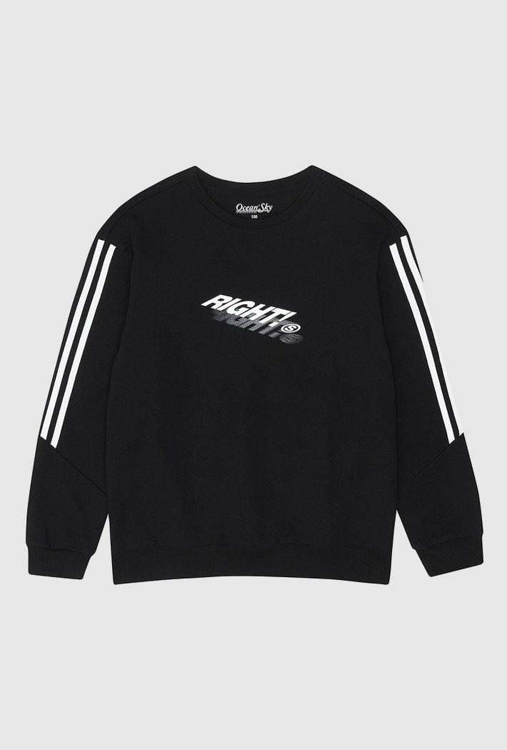남아 오버핏 라인포인트 맨투맨 티셔츠-AAJB5112B03