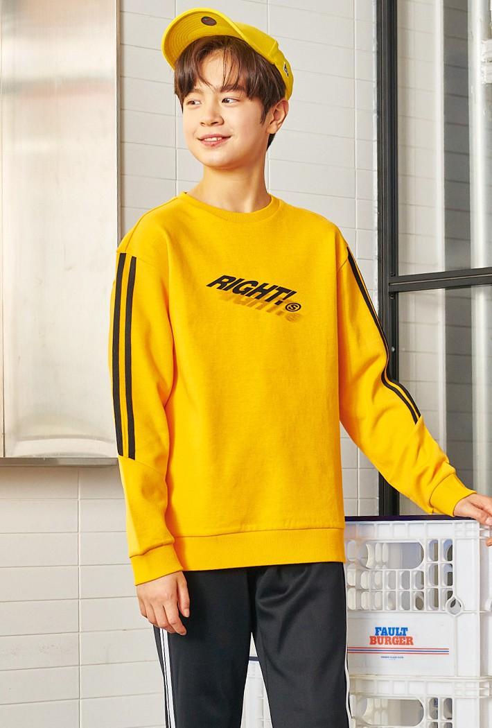 남아 오버핏 라인포인트 맨투맨 티셔츠-AAJB5112B0F
