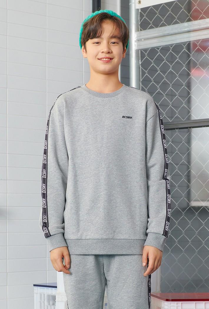 남아 테이프 장식 오버핏 맨투맨 티셔츠-AAJB5121B0B