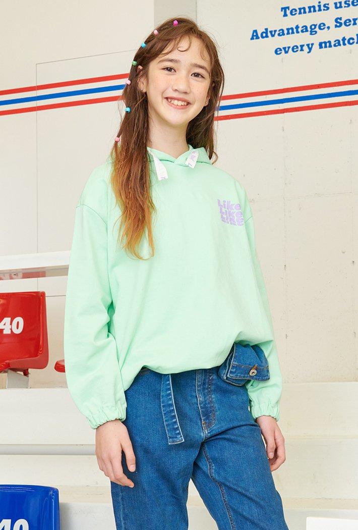 여아 오버핏 그래픽 후드 티셔츠-AAJG5151B0H