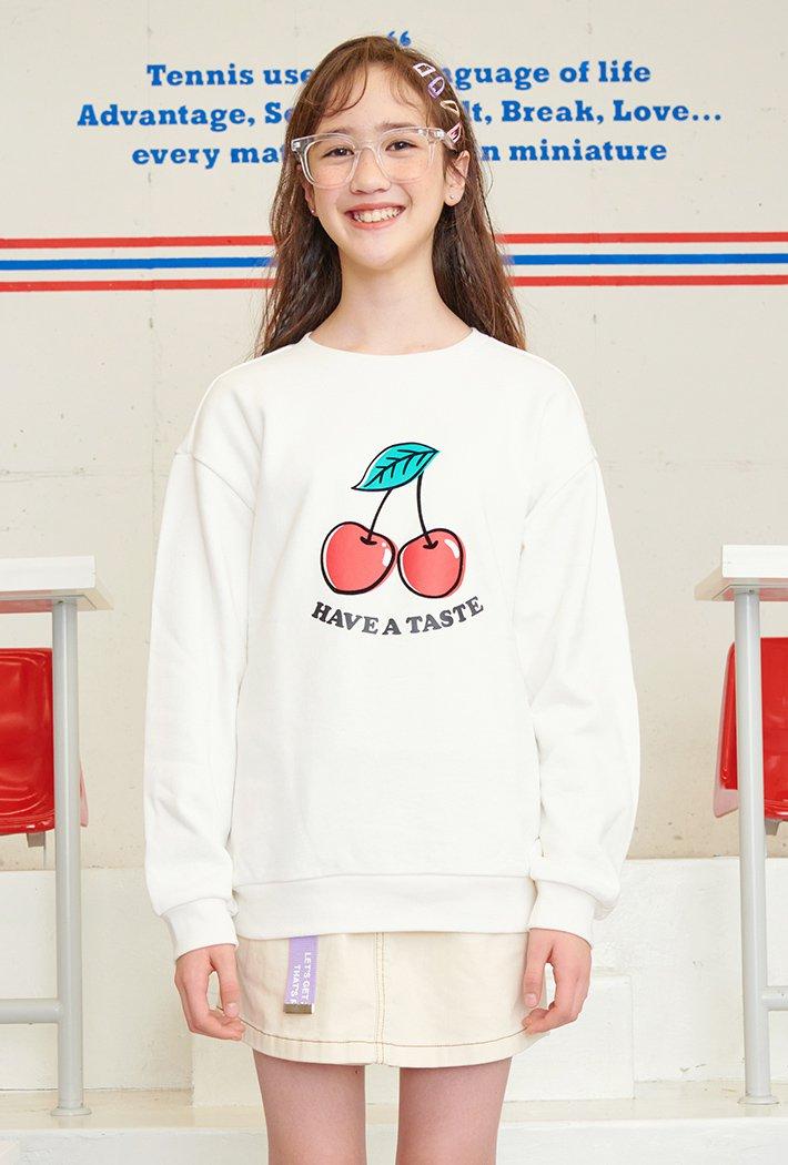 여아 앞판 그래픽 맨투맨 티셔츠-AAJG5157B0A