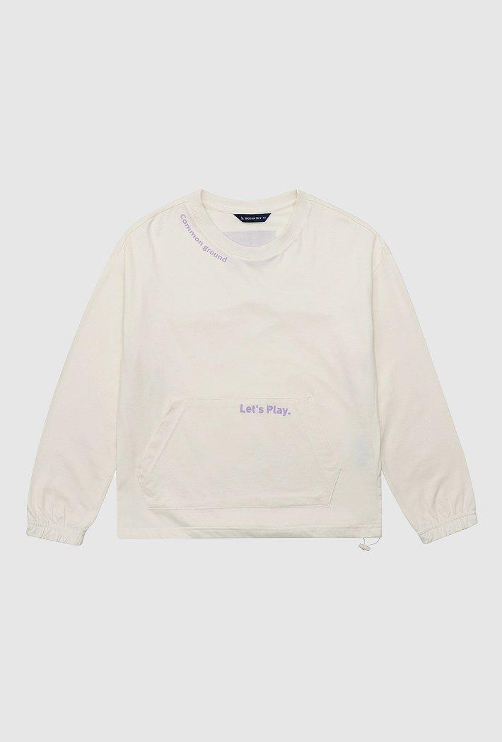 여아 밑단 스트링 앞포켓 티셔츠-AAJG5158B0A
