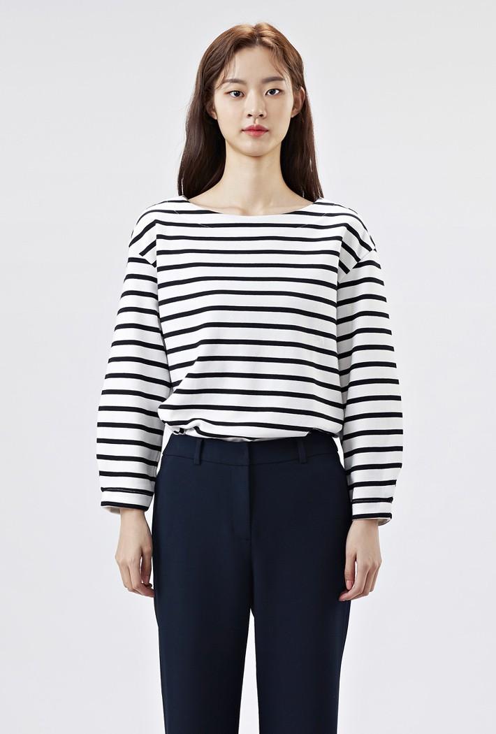 여성 루즈핏 소매볼륨 스트라이프 티셔츠AARG5152B03