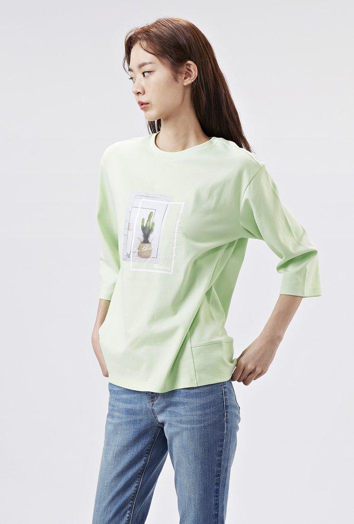 여성 루즈핏 그리너리 그래픽 7부 티셔츠AARG5155B0S