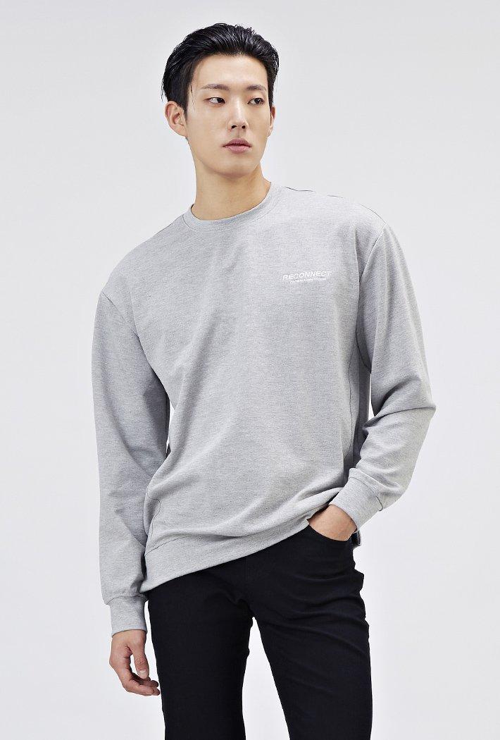 남성 세미오버핏 백포인트 맨투맨 티셔츠-AARK5111B0B