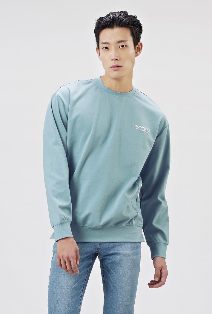 남성 세미오버핏 백포인트 맨투맨 티셔츠-AARK5111B0D