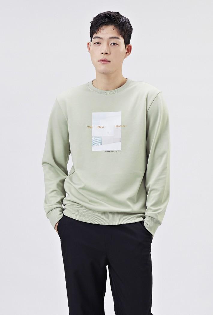 남성 모던 그래픽 맨투맨 티셔츠-AARK5112B0H