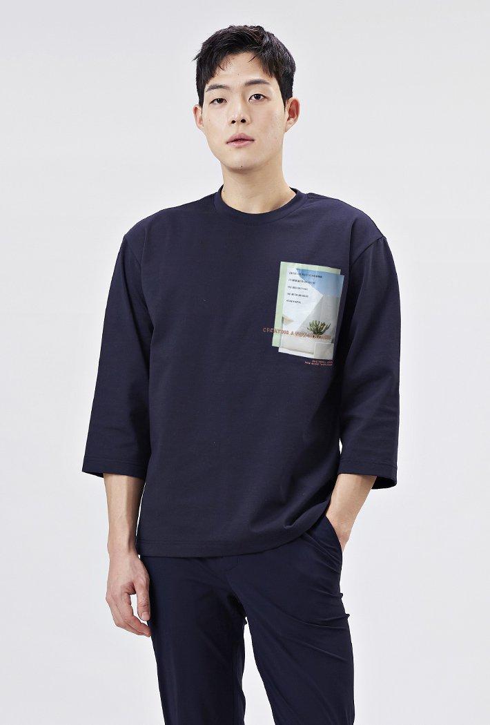 남성 세미오버핏 모던 포토그래픽 7부 티셔츠-AARK5115B04