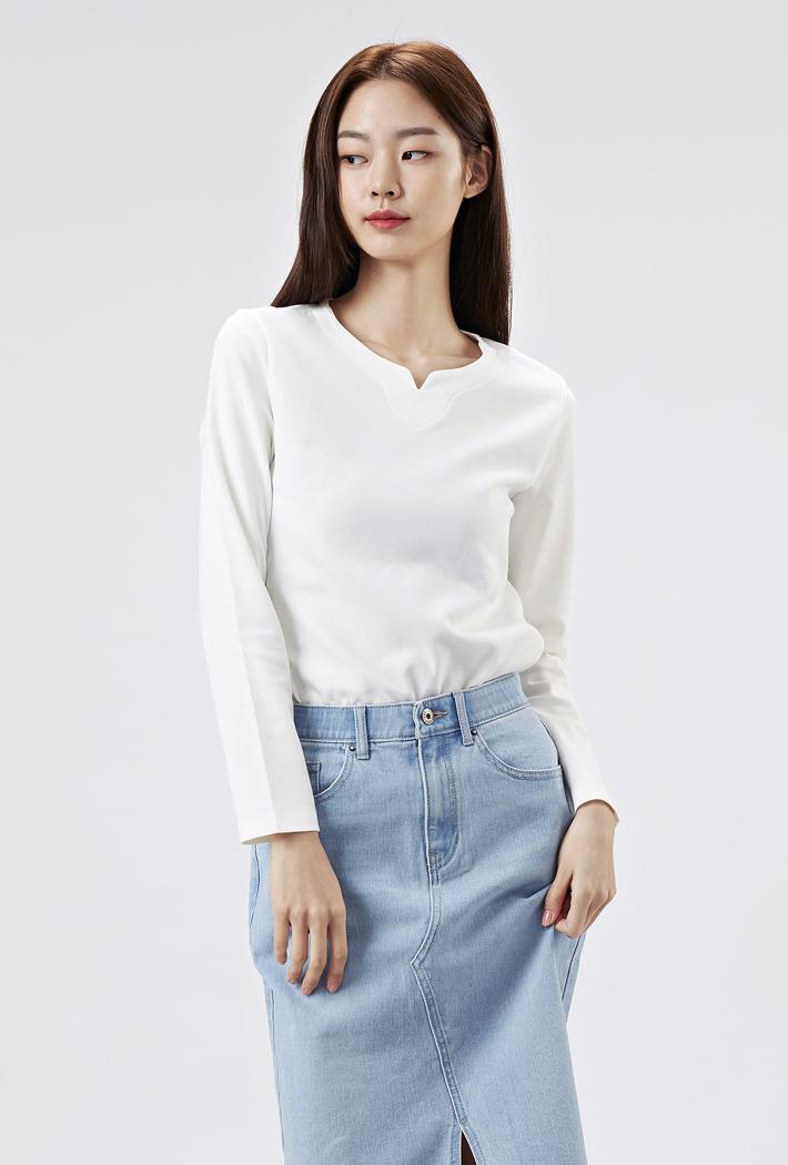 여성 트임넥 티셔츠-AAZG5103B0A