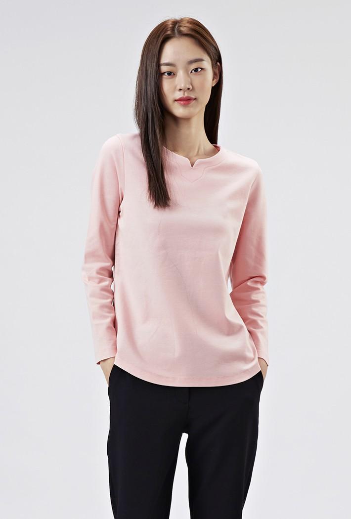 여성 트임넥 티셔츠-AAZG5103B0P
