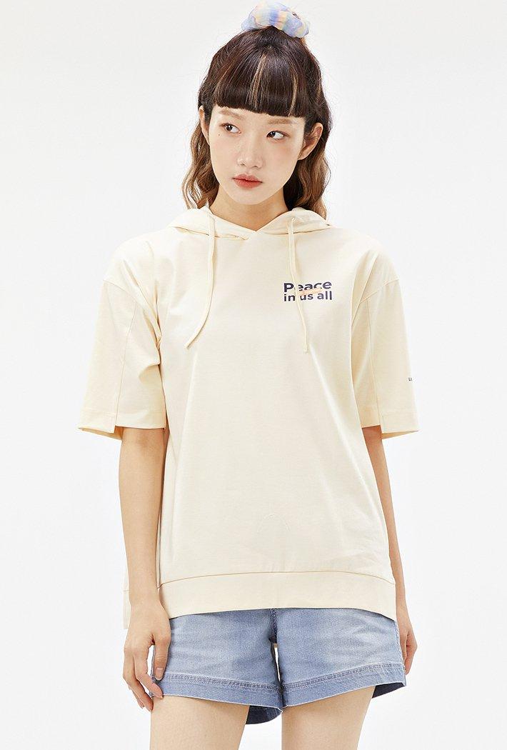 여성 루즈핏 후드 반팔 티셔츠-ABAG5866D05