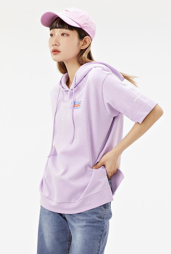 여성 루즈핏 후드 반팔 티셔츠-ABAG5866D0T