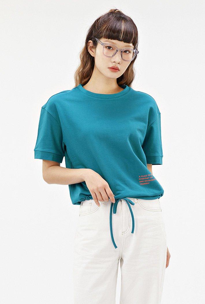 여성 밑단 스트링 크롭 반팔 티셔츠-ABAG5867D0G