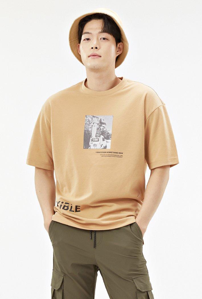 남성 세미 오버핏 전사 프린트 반팔 티셔츠-ABAK5836D0X