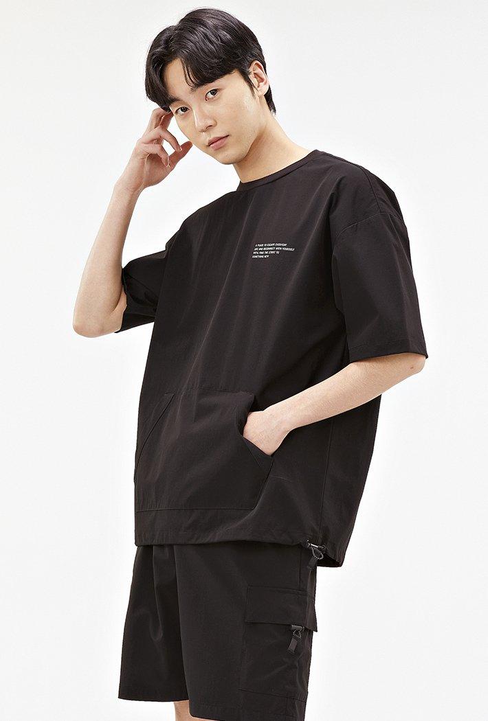 남성 유틸리티 포켓 오버핏 반팔 티셔츠-ABAK5837D03