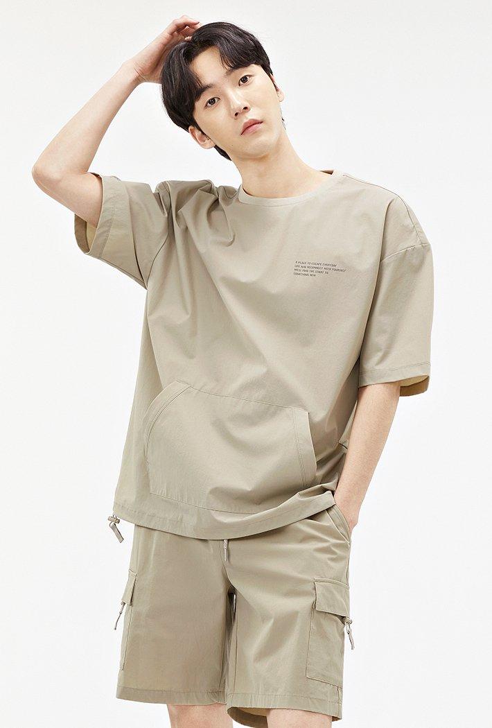 남성 유틸리티 포켓 오버핏 티셔츠-ABAK5837D0X
