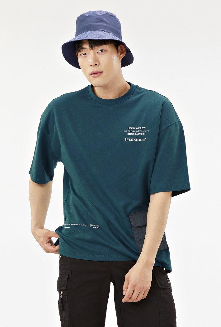 남성 오버핏 유틸리티 그래픽 티셔츠-ABAK5838D0G