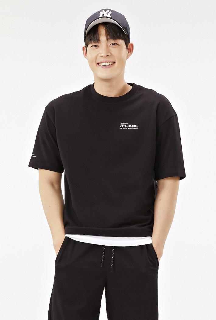 공용 세미오버 밑단 레이어드 티셔츠-ABAU5831D03