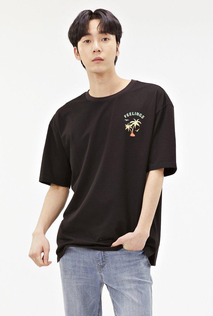 공용 세미오버핏 트로피칼 티셔츠-ABAU5833D03
