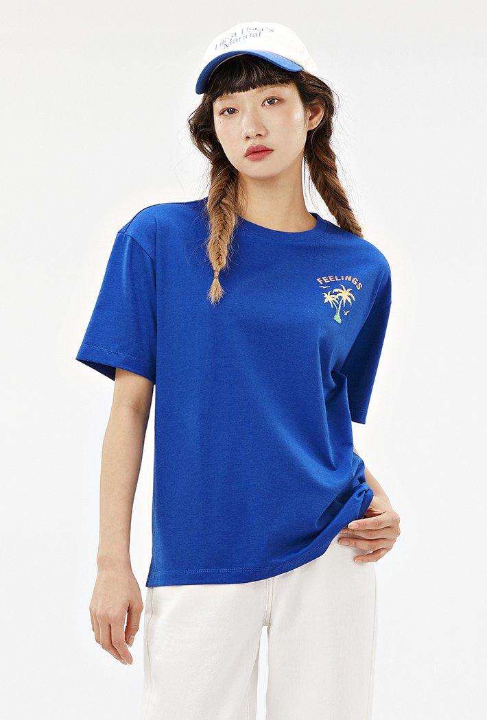 공용 세미오버핏 트로피칼 티셔츠-ABAU5833D0J