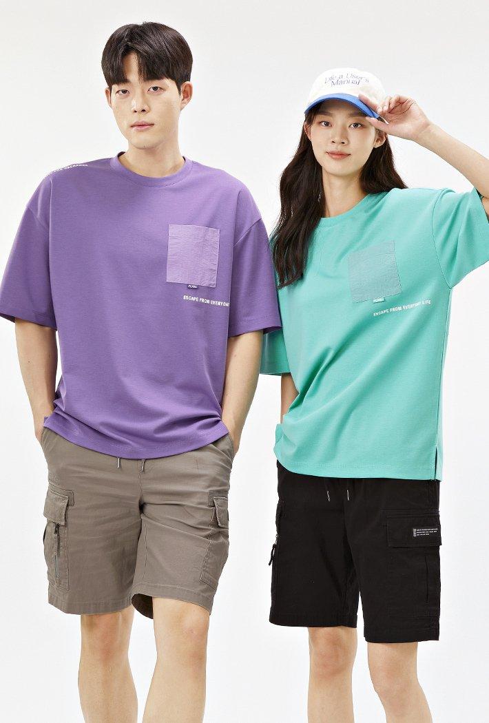 공용 오버핏 우븐 포켓 포인트 티셔츠-ABAU5839D0S