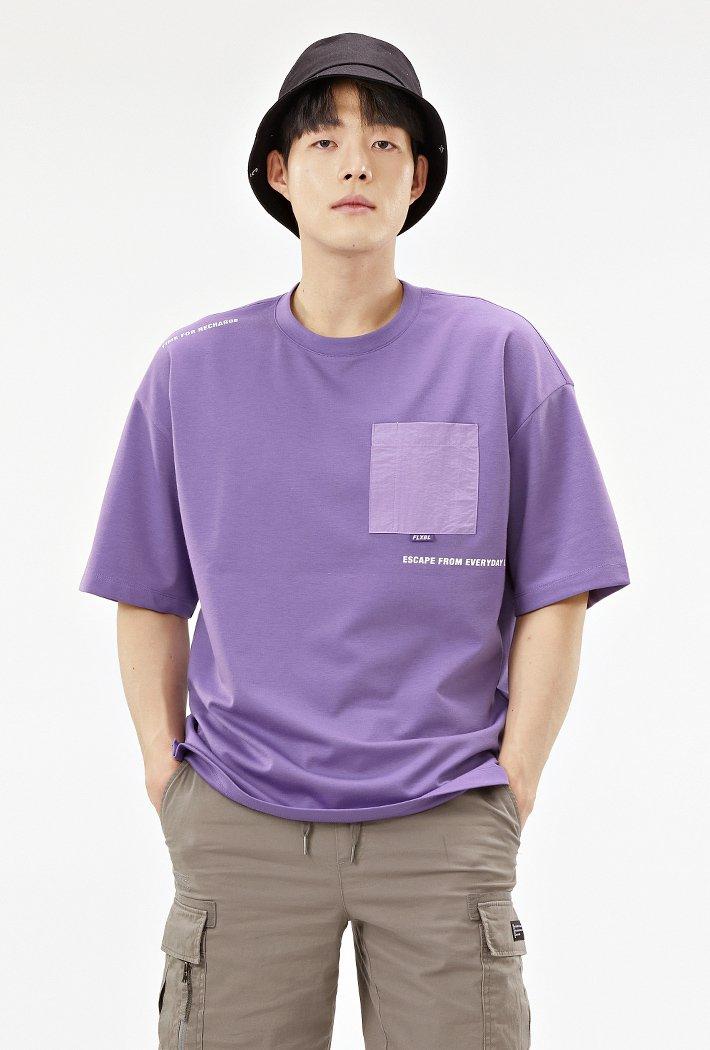 공용 오버핏 우븐 포켓 포인트 티셔츠-ABAU5839D0T