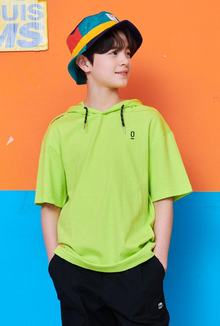 남아 오버핏 스트링 포인트 후드 티셔츠-ABJB5811D0Y