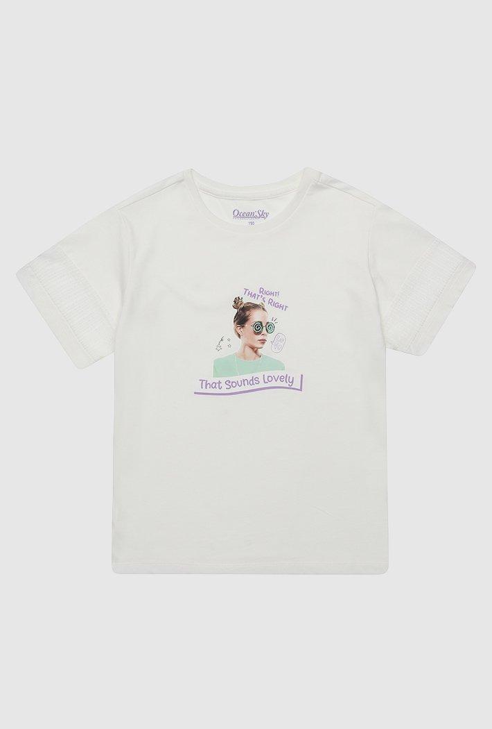 여아 소매 레이스 포인트 티셔츠-ABJG5836D01