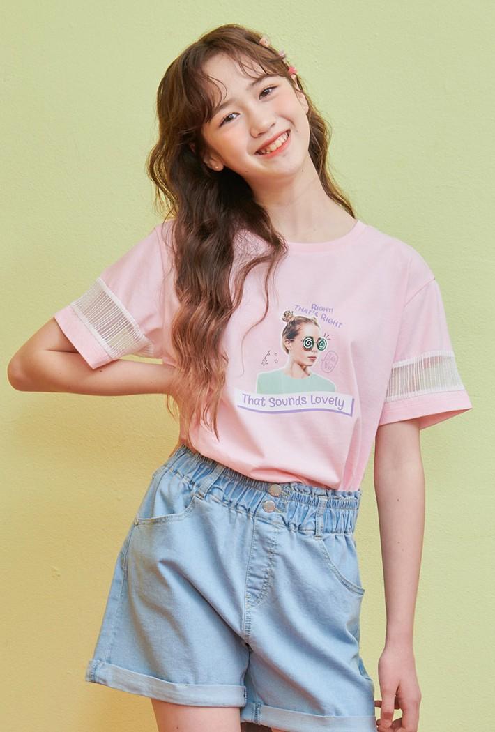 여아 소매 레이스 포인트 티셔츠-ABJG5836D0P