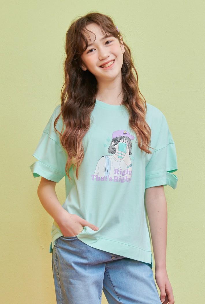 여아 소매 컷팅 그래픽 티셔츠-ABJG5837D0S