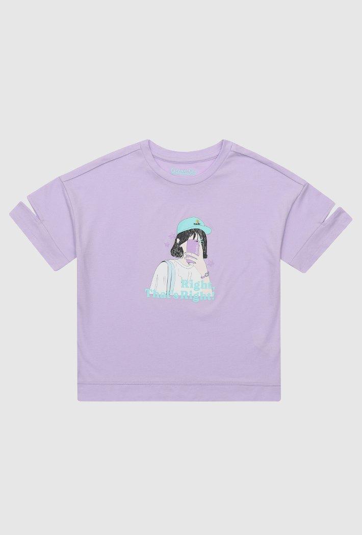 여아 소매 컷팅 그래픽 티셔츠-ABJG5837D0T