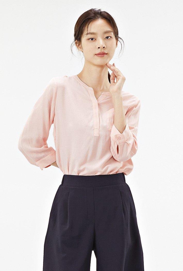 여성 헨리넥 풀오버 7부 셔츠-ABRG5541C0P