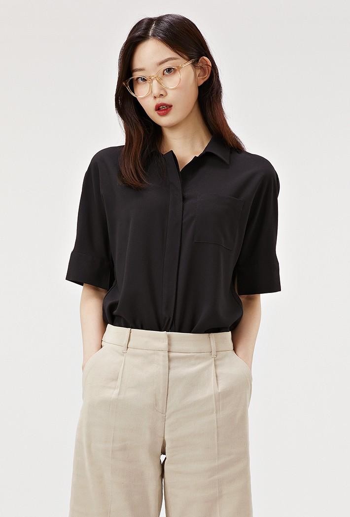 여성 오픈카라 솔리드 셔츠-ABRG5544D03
