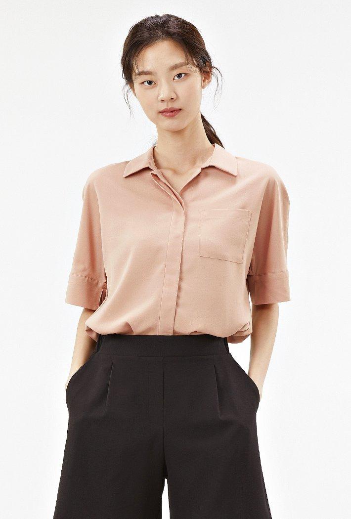 여성 오픈카라 솔리드 셔츠-ABRG5544D0K