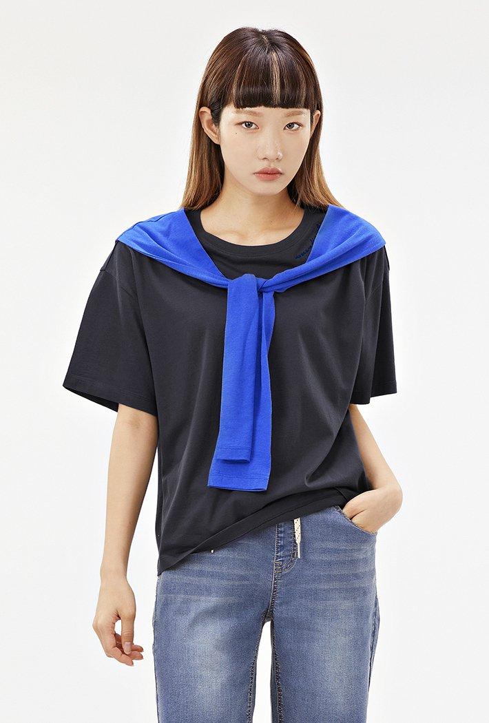 여성 숄 레이어드 티셔츠-ABRG5852D04
