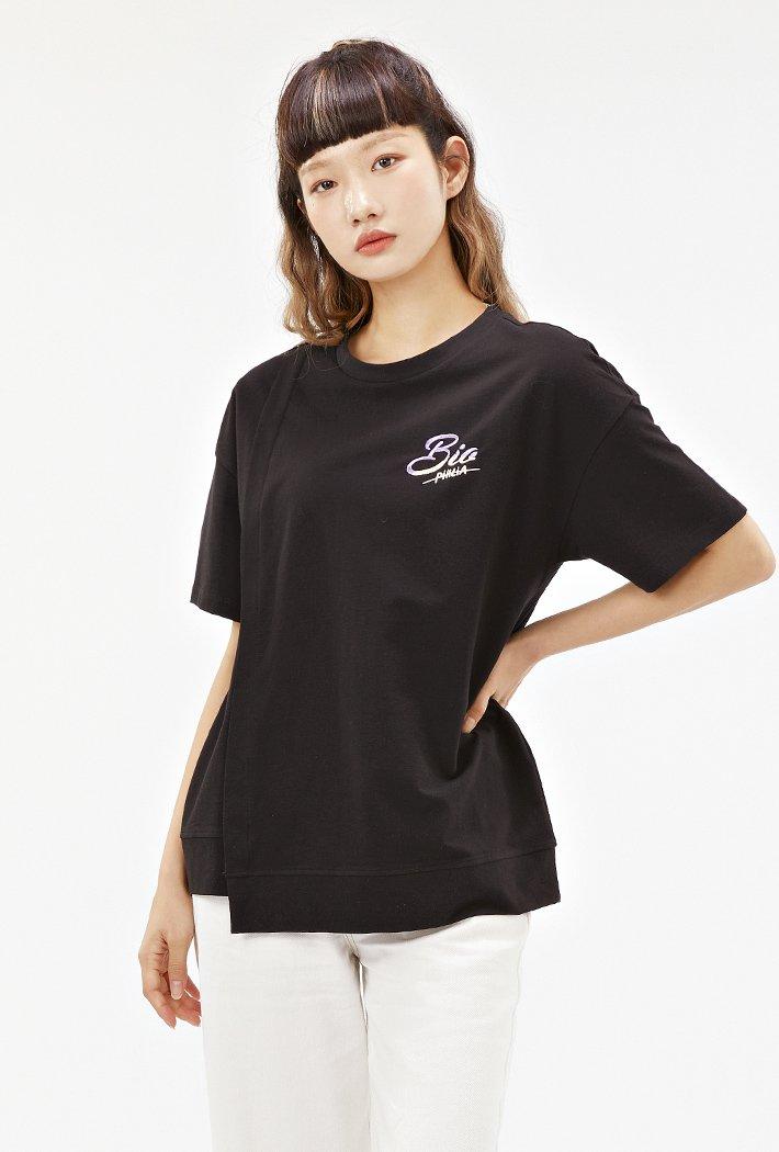 여성 밑단 비대칭 루즈핏 반팔 티셔츠-ABRG5853D03
