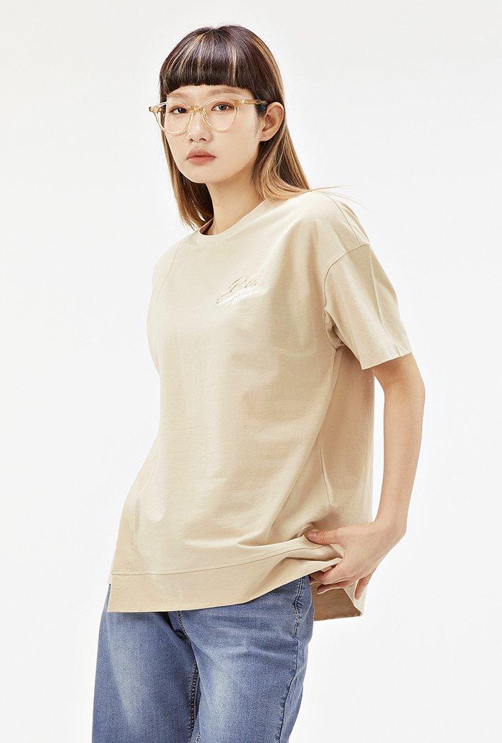 여성 밑단 비대칭 루즈핏 반팔 티셔츠-ABRG5853D0X