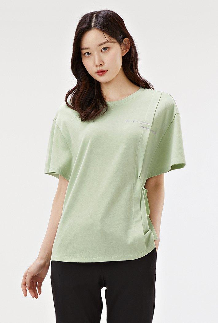 여성 리본장식 테이프 모달 반팔 티셔츠-ABRG5854D0S