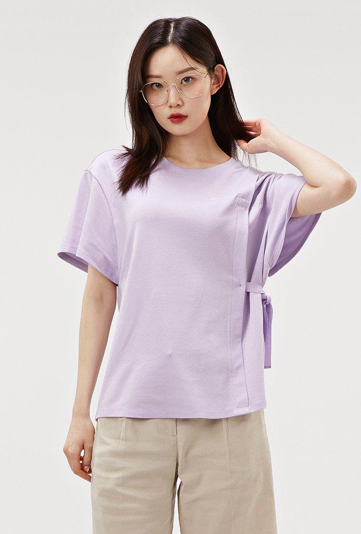 여성 리본장식 테이프 모달 반팔 티셔츠-ABRG5854D0T