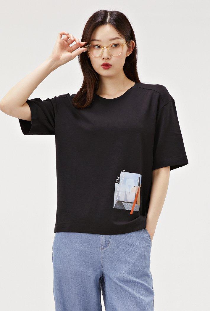 여성 루즈핏 모달 반팔 티셔츠-ABRG5855D03