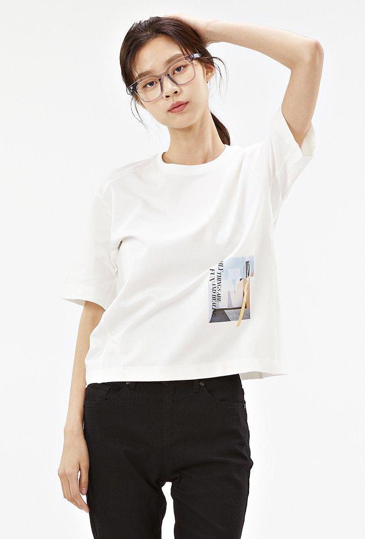 여성 루즈핏 모달 반팔 티셔츠-ABRG5855D0A
